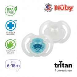 Nuby Little Gems Pacifier with Orthodontic Silicone Baglet With PP Hygienic Cover In PS Box 6M-18M (Light Blue, White)