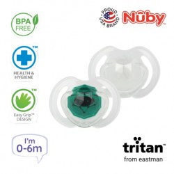 Nuby Little Gems Pacifier with Orthodontic Silicone Baglet With PP Hygienic Cover In PS Box 0M-6M (Dark Green, White)