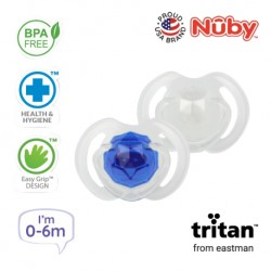 Nuby Little Gems Pacifier with Orthodontic Silicone Baglet With PP Hygienic Cover In PS Box 0M-6M (Dark Blue, White)