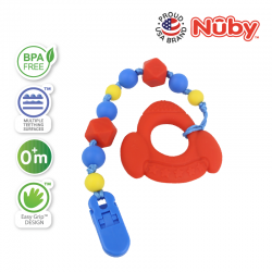 Nuby 1Pk Silicone Beaded Pacifinder with Teether (Rocket)