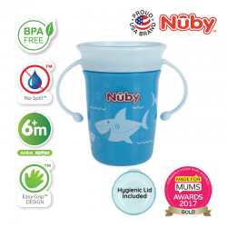 Nuby 360 Wonder Cup 240ML/8OZ - Blue Shark
