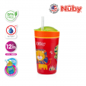 Nuby Snack N Sip Printed Cup with Thin Straw and Snack Cup (270ml) - Lion