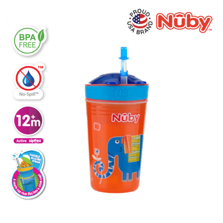 Nuby Snack N Sip Printed Cup with Thin Straw and Snack Cup (270ml) - Elephant