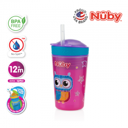 Nuby Snack N' Sip Printed Cup with Thin Straw and Snack Cup (270ml) - Owl