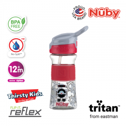 NUBY Soft Spout Sports Bottle with Push Button 360ML - Red