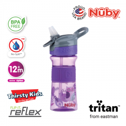 Nuby Soft Spout Sports Bottle with Push Button 360ml (Purple)