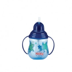 Nuby Designer Pinpoint  2 Handle Click-It Trainer Cup with Weighted Straw & Flip-It Thin Straw 240ml/8oz (Blue)