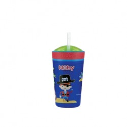 Nuby Snack N' Sip Printed Cup with Thin Straw and Snack Cup (270ml) - Pirate