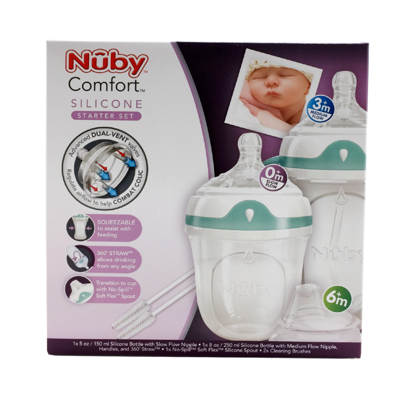 nuby comfort silicone starter set feeding. Black Bedroom Furniture Sets. Home Design Ideas