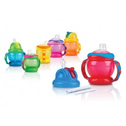 Nuby Flip N' Sip  Combo Cup - Spout And Fat Straw  240ML/ 8OZ *Replacement Straw/Kits: NBXXFFSS,NB92070,NB92103
