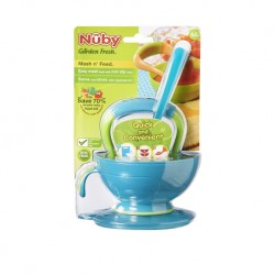 "Nuby ""Garden Fresh"" Mash N' Feed Bowl with Lid, Spoon, and Food Masher"