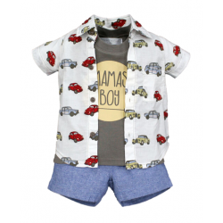 BABY STYLE ASIA BABY BOYS CLASSIC CARS SHIRT, TANKTOP & SHORTS SET