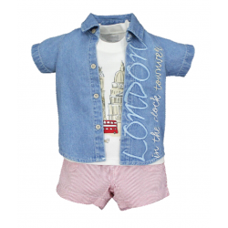 BABY STYLE ASIA BABY STYLE ASIA BABY BOYS LONDON BOY SHIRT, TANKTOP & SHORTS SET