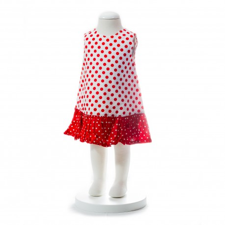 BABY STYLE ASIA BABY GIRLS SUMMER STYLE RED POLKA DOT DRESS