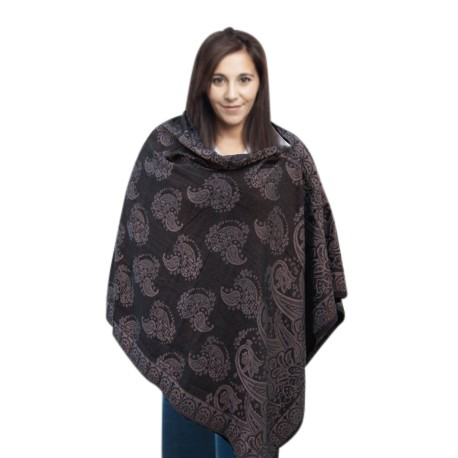Babylove Premium Nursing Poncho (Black  and  Silver)