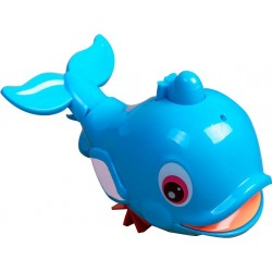 Babylove Pull-Line Dolphin Bath Toy with Spray (Blue)
