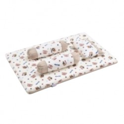 Babylove 4 in 1 Foam Mattress Set + Pillow & Bolsters (Animal Stars)