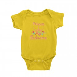 Babywears.my Princess Addname with Tiara and Flowers Baby Romper