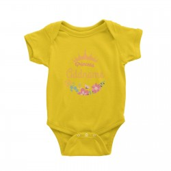 Babywears.my Princess Addname with Tiara and Flowers 2 T-Shirt Personalizable Designs For Girls Pinky