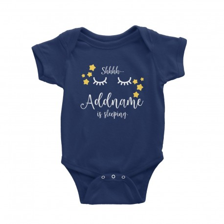Babywears.my Shhh Addname is Sleeping with Stars T-Shirt Personalizable Designs Newborn