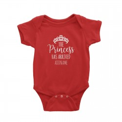 Babywears.my The Princess Has Arrived with Tiara Addname T-Shirt  Newborn Personalizable Designs Pinky For Girls
