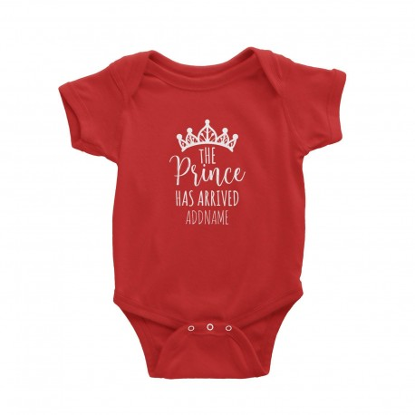 Babywears.my The Prince Has Arrived with Crown Addname T-Shirt  Newborn Personalizable Designs For Boys