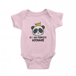 Babywears.my Cute Panda Hi I Am Princess Addname T-Shirt Newborn Personalizable Designs Animal