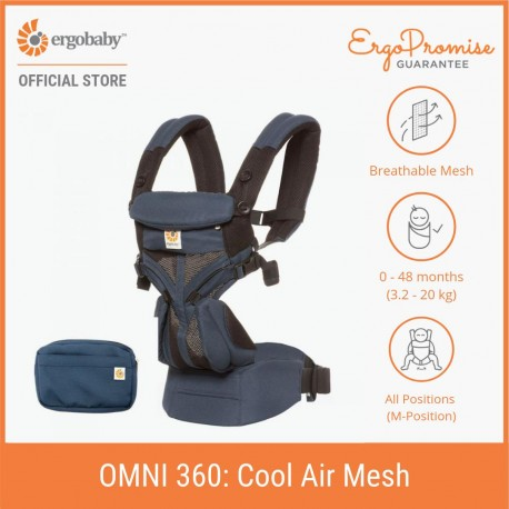 Ergobaby Omni 360 Baby Carrier - All-in-One Cool Air Mesh (Raven)