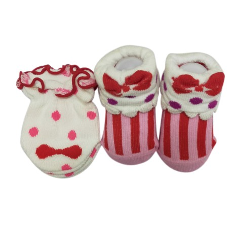 Earth Bebe Mitten and Booties Set - Pink Ribbon (EB-MT02009)