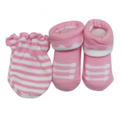 Earth Bebe Mitten and Booties Set - Stripe Pink (EB-MT02005)