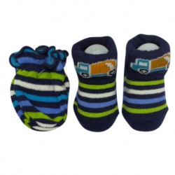 Earth Bebe Mitten and Booties Set - Stripe Navy Blue with Truck (EB-MT02008)