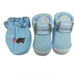 Earth Bebe Mitten and Booties Set - Light Blue (EB-MT02012)