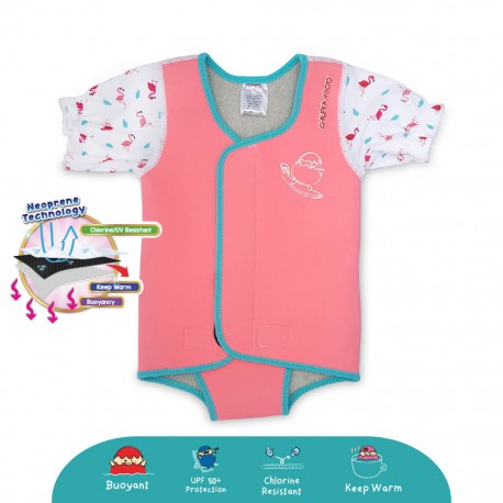 Cheekaaboo Waterbabes Wrap Thermal Swimsuit - Flamingo (Summer Paradise)