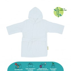 Cheekaaboo Premium Bamboo Hooded Bathrobe - White (Newborn - 36 mths)