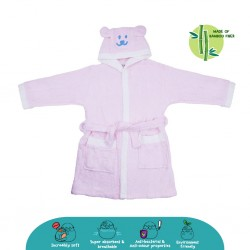 Cheekaaboo Kids Premium Bamboo Embroidery Bathrobe - Pink Bear (3 - 8 yrs)