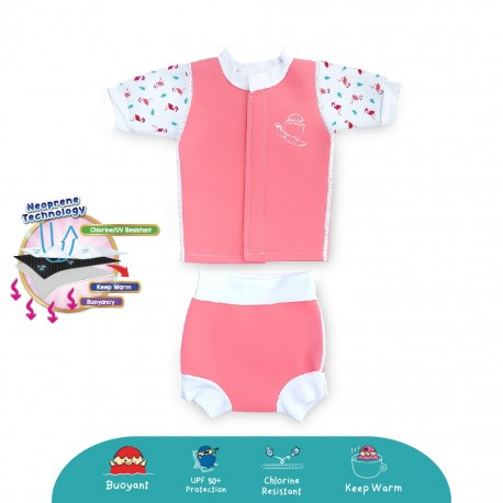 Cheekaaboo Huggiebabes Thermal Swimsuit - Flamingo (Summer Paradise)