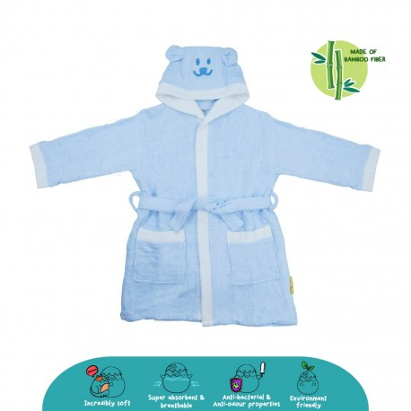 Cheekaaboo Kids Premium Bamboo Embroidery Bathrobe - Blue Bear (3 - 8 yrs)