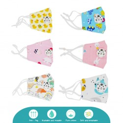 Cheekaaboo Children Reusable Cotton Face Mask Adjustable Earloop, Kids Washable Fabric Face Mask with PM2.5 Filter