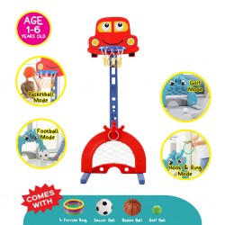 Cheekaaboo Children Indoor & Outdoor Multifunctional 4-in-1 Basketball Stand, Kids Adjustable Basketball Stand (Racing Car)