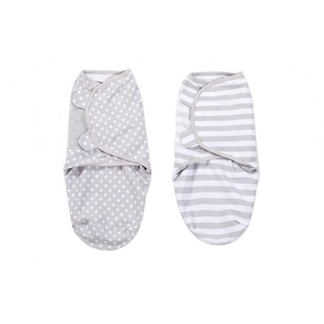 Summer Infant Swaddle 2pk - Grey Dot & Grey Stripe