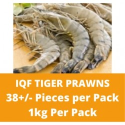 CN Frozen IQF Tiger Prawn HOSO 30% Glazing (Approx 38 Pcs) 1kg per Pack CN Frozen Udang Seafood Shellfish Fish