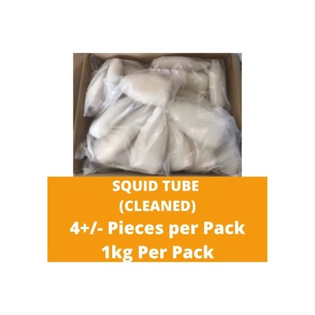 CN Frozen Squid Tube (Cleaned) (4-5 Pcs) 1kg per Pack CN Frozen Seafood Sotong Fish