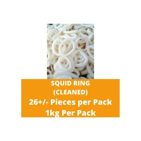 CN Frozen Squid Ring (Cleaned) (Approx 26 Pcs) 1kg per Pack CN Frozen Seafood Sotong Fish