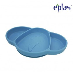 Eplas Baby Suction Plate with 3 Compartment - Silicone Placemat (ESL-P01/Blue)