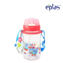Eplas Kids Water Bottle with Push Button, Straw & Removable Strip 380ml (EGB-380BPA/Pink)