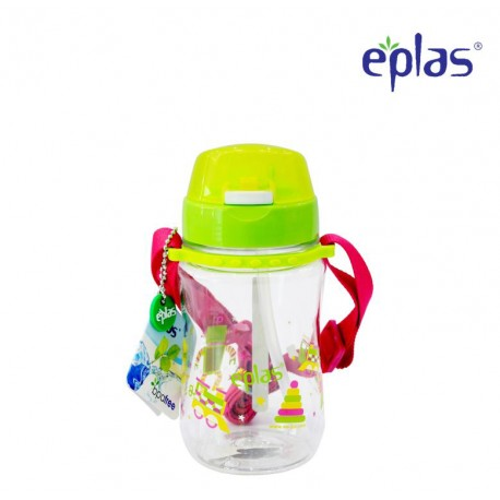 Eplas Kids Water Bottle with Push Button, Straw & Removable Strip 380ml (EGB-380BPA/Green)