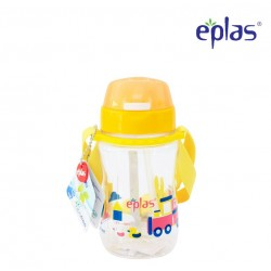 Eplas Kids Water Bottle with Push Button, Straw & Removable Strip 380ml (EGB-380BPA/Yellow)