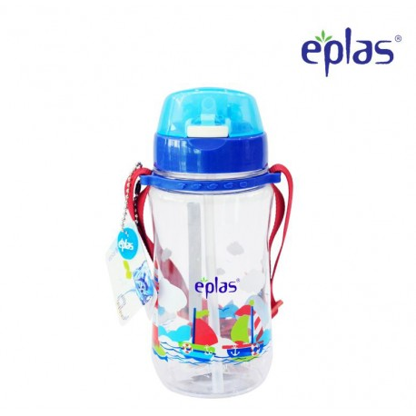 Eplas Kids Water Bottle with Push Button, Straw & Removable Strip 480ml (EGB-480BPA/Blue)