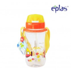 Eplas Kids Water Bottle with Push Button, Straw & Removable Strip 480ml (EGB-480BPA/Orange)