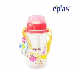Eplas Kids Water Bottle with Push Button, Straw & Removable Strip 480ml (EGB-480BPA/Pink)